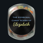 "Your Personal Candy Stash - Customizable Name Glass Candy Jar<br><div class=""desc"">Label your personal candy stash! Blue and yellow text.</div>"