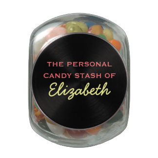 Your Personal Candy Stash - Pink Customizable Name Jelly Belly Candy Jar
