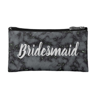 Your Personalized Bridesmaid Black Marble Cosmetic Bag