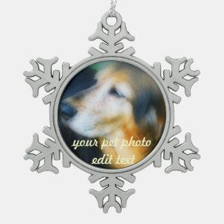 Your pet Photo christmas snow flake Snowflake Pewter Christmas Ornament