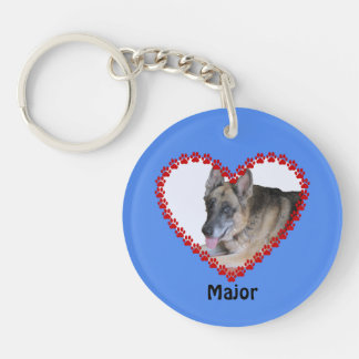Your pet photo custom name paw prints blue keychain