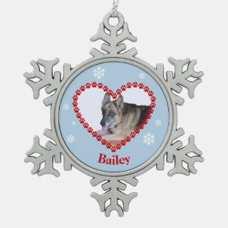 Your pet photo paw print heart custom name snowflake pewter christmas ornament
