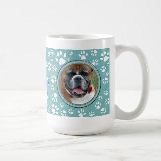 Your Pet Photo Pet Memorial Teal Dog Print Coffee Mug