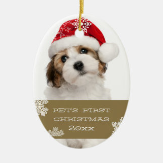 Your Pet's First Christmas Photo Ornament   Gold