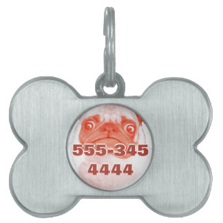 Your Phone Number and Photo Custom Pug Pet Tag