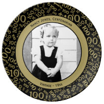 Your Photo 100th Year Birthday Number Pattern Dinner Plate