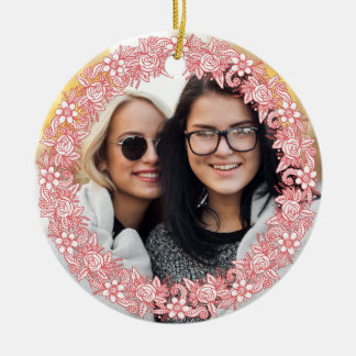 YOUR PHOTO and custom text in Flower Wreath Frame Ceramic Ornament