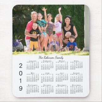 Your Photo and Name Personalized 2019 Calendar Mouse Pad
