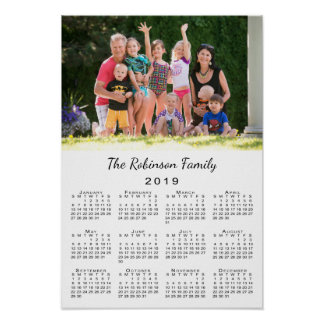 Your Photo and Name Personalized 2019 Calendar Poster