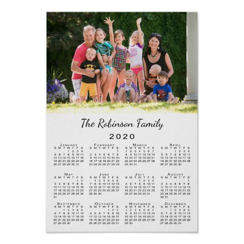 Your Photo and Name Personalized 2020 Calendar Poster