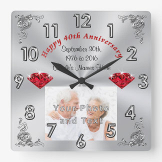 Your PHOTO and TEXT 40th Anniversary Gifts Square Wall Clock