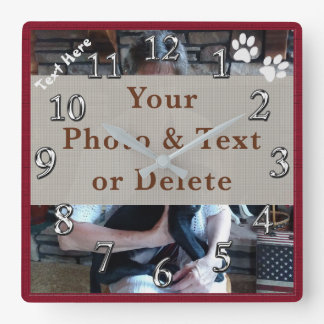 Your Photo and Text Personalized Dog Wall Clock