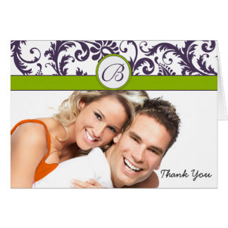Your Photo Apple Green & Lapis Damask Thank You Stationery Note Card