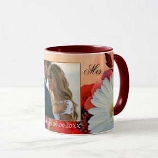 Your Photo Artistic Autumn Floral Wedding Mug