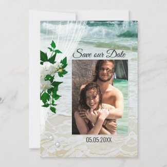 Your Photo Beach Lace Save the Date Card