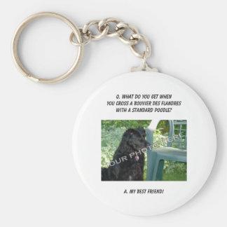 Your Photo! Best Friend Bouvier des Flandres Mix Basic Round Button Keychain