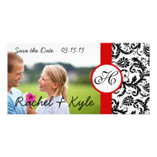 Your Photo Black Damask Red Trim Save the Date Card