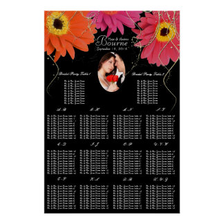 Your Photo Black & Plum Gerber Daisy Seating Chart Posters