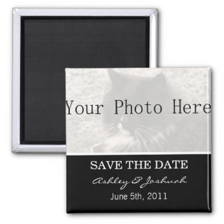 Your Photo- Black Save The Date Magnets