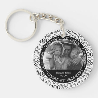 Your Photo - Black/White Centenarian Party Favor Keychain