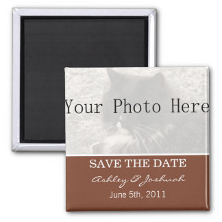 Your Photo- Brown Save The Date Magnets