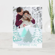 Your Photo Christmas Modern Trees Holiday Card