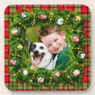 Your Photo Christmas Wreath Beverage Coaster