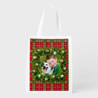 Your Photo Christmas Wreath Market Tote