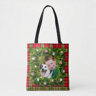 Your Photo Christmas Wreath Tote Bag