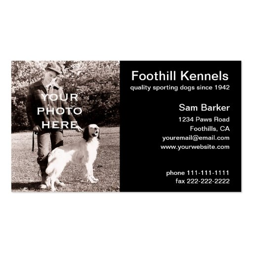 Your Photo Clean Black with White Text Business Card Template