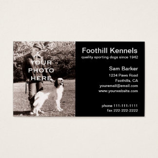 Your Photo Clean Black with White Text Business Card