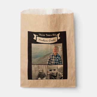 Your Photo Collage Rustic Banner Three Years Old Favor Bag