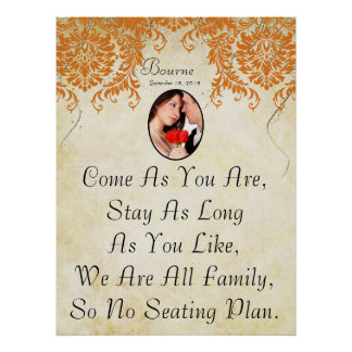 Your Photo Coral Damask Gold Seating Chart Posters