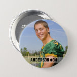 """Your Photo Custom Football or Your Sport Round Button<br><div class=""""desc"""">Your Photo Custom Sports pin back round button. Add your photo,  name and number. Great for cheering on your favorite local athlete in football,  baseball,  softball,  soccer,  tee ball,  little league and more.  Mom and Dad cheer on your son or daughter and team with this personalized photo button.</div>"""
