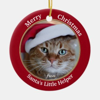 Your Photo Cute Kitty Personalized Christmas Ceramic Ornament