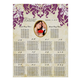 Your Photo Damask Seating Chart Alphabetical
