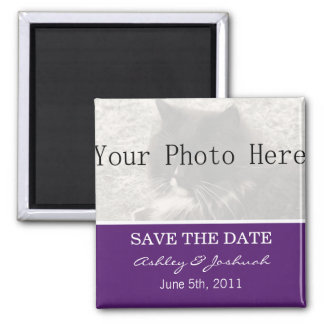 Your Photo- Dark Purple Save The Date Magnets