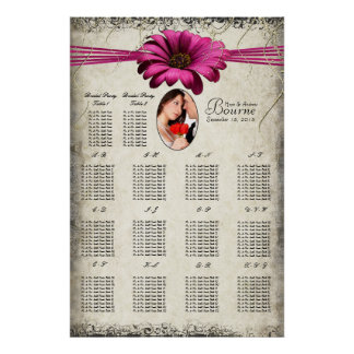 Your Photo Fuchsia Gerber Daisy Seating Chart Poster