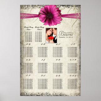 Your Photo Fuchsia Gerber Daisy Seating Chart Print