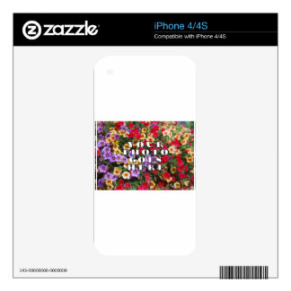 Your Photo Goes Here Customized Zazzle Template Decals For iPhone 4S