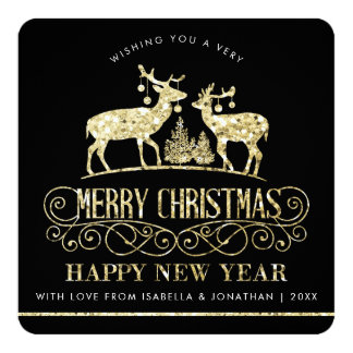 Your Photo | Gold Glitter Reindeer Stags Card