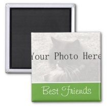 Your Photo- Green Best Friends Magnet