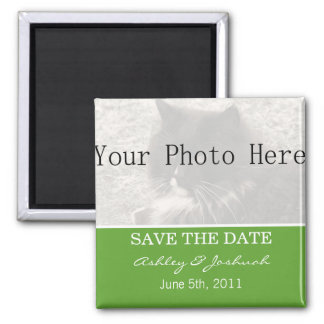 Your Photo- Green Save The Date Magnets