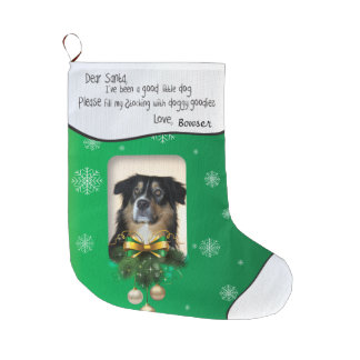 YOUR PHOTO Green Snowflake I've Been Good Dog Xmas Large Christmas Stocking