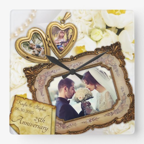 Your Photo Heart Locket Antique Frame Anniversary Square Wall Clock