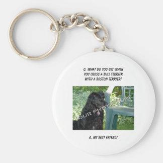 Your Photo Here! My Best Friend Bull Terrier Mix Basic Round Button Keychain