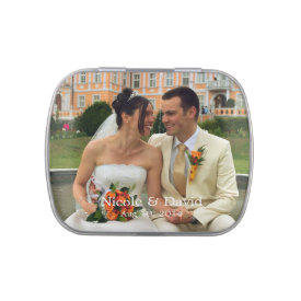 Your photo here personalized wedding favor jelly belly candy tins at Zazzle