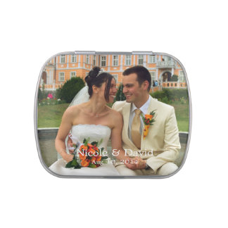 Your photo here personalized wedding favor jelly belly candy tins