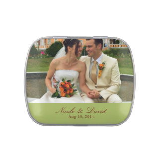 Your photo here personalized wedding favor green candy tin