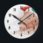 """Your Photo Here Wall Clock<br><div class=""""desc"""">Create a one of a kind,  unforgettable gift for friends and family. Personalize a wall clock with a photo of you or your family,  or perhaps a cute photo of your new baby or pet! Simply replace the template photo with your own.</div>"""